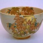 和田泰明  色絵紅葉茶碗