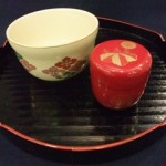 盆手前セット 花型盆(柿合せ)・朱塗高台寺蒔絵中棗(木製)・仁清花菱紋茶碗