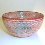大樋焼赤彫三島茶碗