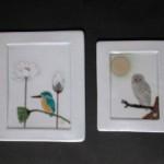 釉描色絵 翡翠図 陶板、釉描色絵 月に梟図 陶板